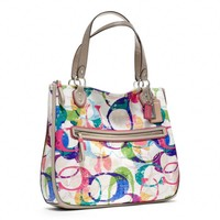 Coach :: New Poppy Stamped c Hallie East/west Tote