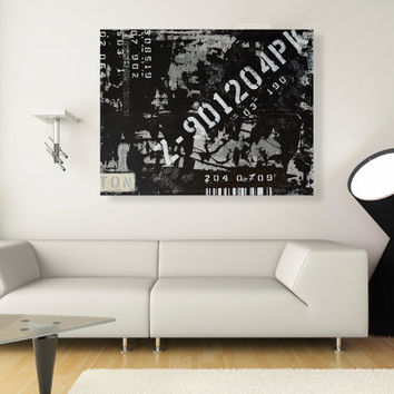Original Black and White Abstract Painting - 36x28 Large Industrial Wall Art Decor - Free Shipping