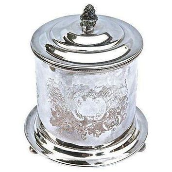Pre-owned Antique Sheffield Silverplate Biscuit Jar