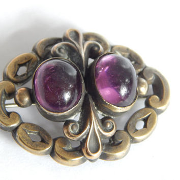 Victorian Antique Sterling Silver Amethyst Paste Cabochon Brooch Pendant