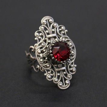 Blood red Gothic ring - CHOOSE your color - Engagement ring in silver tone with Swarovski crystal stone - Victorian Gothic Jewelry