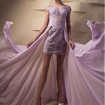 [99.99] Attractive Tulle & Chiffon Bateau Neckline Sheath Evening Dresses With Lace Appliques & Beads - dressilyme.com