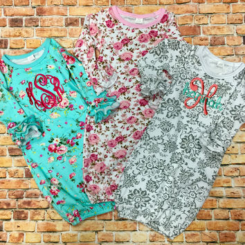 Monogrammed Floral Ruffle Gowns - Baby Girl Gift, Great for Baby Showers and Newborns, Baby Gift, New Mom, Infant Gown