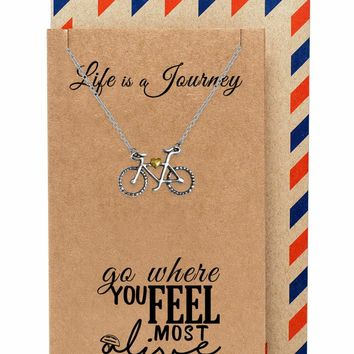 Ciara Journey Necklace with Bicycle Pendant for Women, comes with Inspirational Quote