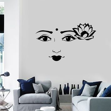 Vinyl Wall Decal Beautiful Indian Woman Face Girl Lotus Flower Decor Stickers Mural (ig5665)