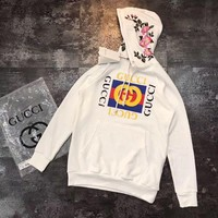 Gucci Flowers Embroidery Hoodie Pullover Top Sweater Sweatshirt