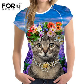 FORUDESIGNS Women Clothing Naughty Tumblr Cat Printing Women T shirt Harajuku Summer Funny Customize College Girls Short Tees