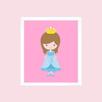 Princess with Crown in Blue Dress on Pink, Girls Room, CUSTOMIZE YOUR COLORS, 8x10 Prints, nursery decor nursery print art baby room decor