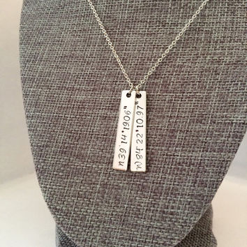 Latitude Longitude Bar Necklace,Coordinates Necklace,Monogram Bar Necklace,Engraved Bar Necklace,latitude longitude jewelry