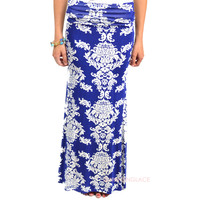 SZ MEDIUM Royal Hawaiian Blue Maxi Skirt