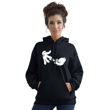 Stabilitees Cartoon Gloves Hands Rolling A Joint Funny Hoodies = 1932446404