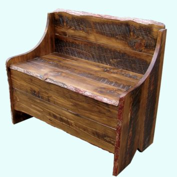 Rustic Pine Bench with Storage
