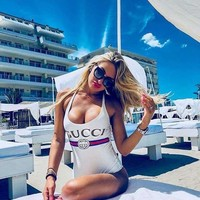 Sexy White GUCCI Fashion Trending Bikini Set Bathing Suits Summer Beach Swimsuit Swimwear Vacaton Holiday