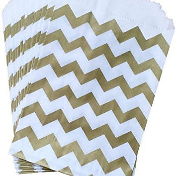 Outside the Box Papers Gold and White Chevron Treat Sacks - Favor Bags Made in USA Birthday Wedding Baby Shower Anniversary Party Pack of 48