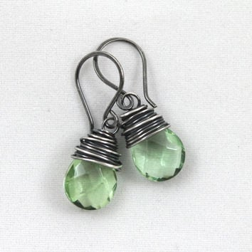 Small Oxidized Sterling Silver Quartz Earrings, Wire Wrapped Oxidized Silver Jewelry, Quartz Jewelry - Choose from 14 Different Colors