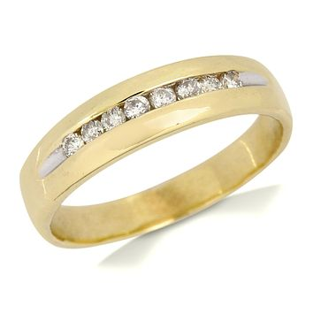 5.0 mm Wide Natural Diamond Band 1/3 tcw in 10k SOLID Yellow Gold