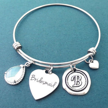 Personalized, Stone, Color, Letter, Iniail, Bridesmaid, Heart, Silver, Bangle, Bracelet, Custom, Color, Stone, Wax, Seal, Initial, Gift