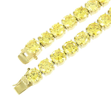 Solitaire Lab Diamond Necklace Canary Round Cut Stainless Steel Gold Tone 10 MM