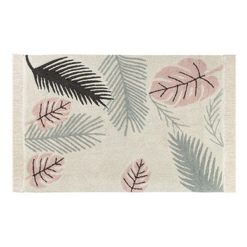 Tropical Pink Washable Cotton Rug