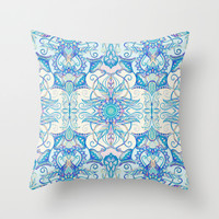 Teal Blue, Pearl & Pink Floral Pattern Throw Pillow by Micklyn