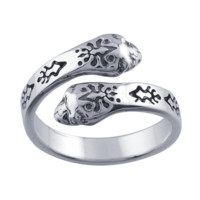 Sterling Silver Patterned Double-Head Snake Bypass Ring