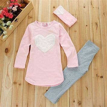 Set Pants Children's Clothing Set Girls Clothes Suits Pink Red Heart