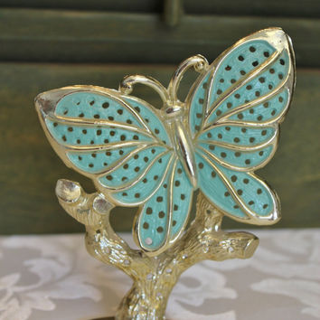 Vintage Earring Holder, Torino Gold Butterfly Jewelry Tree Display