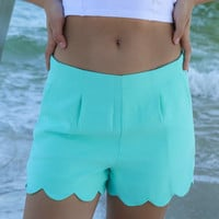 Cannes Mint High Waist Scallop Shorts