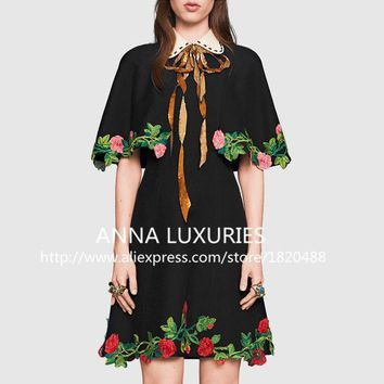 PEAPGB2 2016 spring summer Vogue Collection Luxury Brand Heavy Embroidery  doll collar  totem flowers Cape dress s218