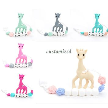 Silicone Giraffe Teething Pendant Pacifier Clip Giraffe Teether Toy Food Grade Jewelry Teething Baby Carrier Teething Accessory