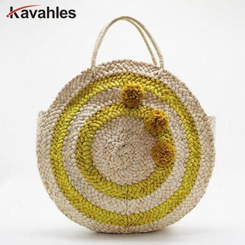 Beach bag round straw totes bag large big summer straw bags tassels pom pom women natural handbag yellow striped circular LW-82