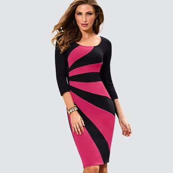 Women Casual Wear To Work Office Business Patchwork Bodycon Dress Elegant Colorblock Contrast Sheath Fitted Pencil Dress HB390