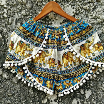 Elephants pom pom shorts Boho fabric printed Bohemian pattern festival outfit Stylish for Summer holiday Beach clothing Women in blue white