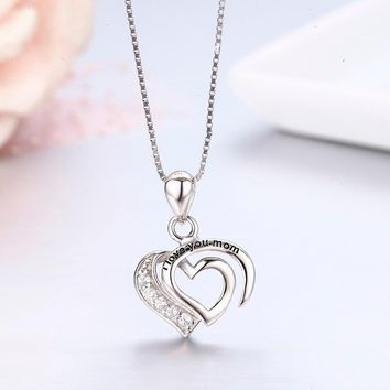 Cute Mother's 925 Sterling Silver Double Heart CZ Mark I lOVE YOU MOM Pingentes Charms Pendant Necklace Women Jewelry ketting