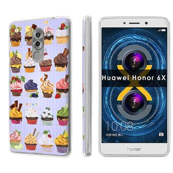 Huawei [Honor 6X] [Mate 9Lite] [SlickCandy] [Clear] Slim Fit Gummy TPU Phone Case - [Cupcakes Pattern]