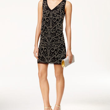 Xscape Short Beaded Blouson Cocktail Dress
