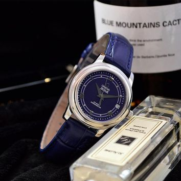 PEAP O024 Omega Quartz Chronometer CO-AXIAL Leather Strap Watches Blue
