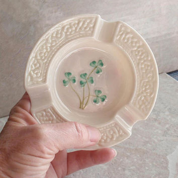 Belleek Shamrock Ashtray Fine Irish Porcelain Tobacciana Vintage Fifth Mark 103114RL