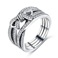 New Classic Silver Big Bow Knot DELICATE SENTIMENTS RING Finger Pandora Ring For Women Wedding Fine Jewelry