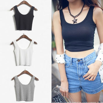 Women's Summer Scoop Neck Cropped Belly Top Sleeveless Fitted Tee Stretchy Vest = 5617063361