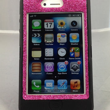 Otterbox Case iPhone 4/4S Glitter Cute Sparkly Bling Defender Series Custom Case Black/Raspberry