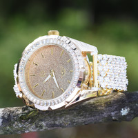 Mens Yellow Gold Finish Cluster Iced Tray Band Watch