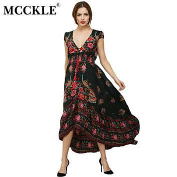 MCCKLE woman fashion Summer Boho Dress Ethenic Sexy Print Retro Vintage Dress Tassel Beach Dress Bohemian Hippie Dress Robe new
