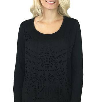 Tribal Long Sleeve Lazer Cut Out Top Black