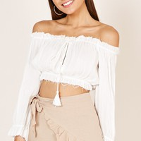 Oriental Love crop top in white Produced By SHOWPO
