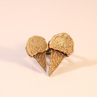 Double Ice-Cream Cone Heart Open Ring/ Yellow Bronze Ice-Cream Cones on Adjustable Sterling Silver Double Band