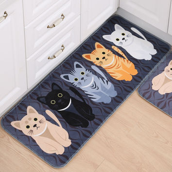 Free Shipping New Welcome Floor Mats Animal Cat Print Bathroom Kitchen Anti-Slip Tapete Carpets House Doormats for Living Room