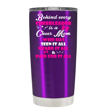 Behind Every Cheerleader is a Cheer Mom on Violet 20 oz Tumbler Cup