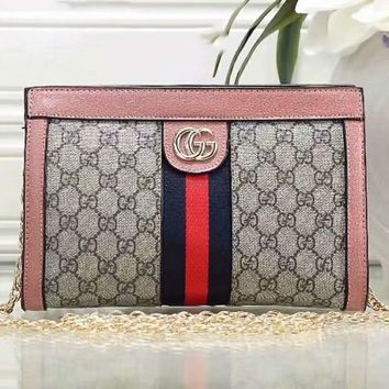 Gucci Trending Women Shopping Fashion Leather Chain Satchel Shoulder Bag Crossbody Pink G-LLBPFSH