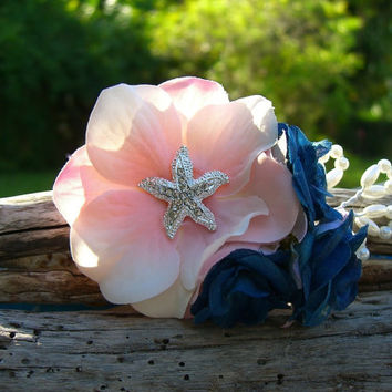 Beach Wedding,Starfish Hair Clip,Starfish Weddings,Beach Bride,Mermaid Hair Accessories,Bridesmaid Hair Piece,Navy Blue and Blush Pink